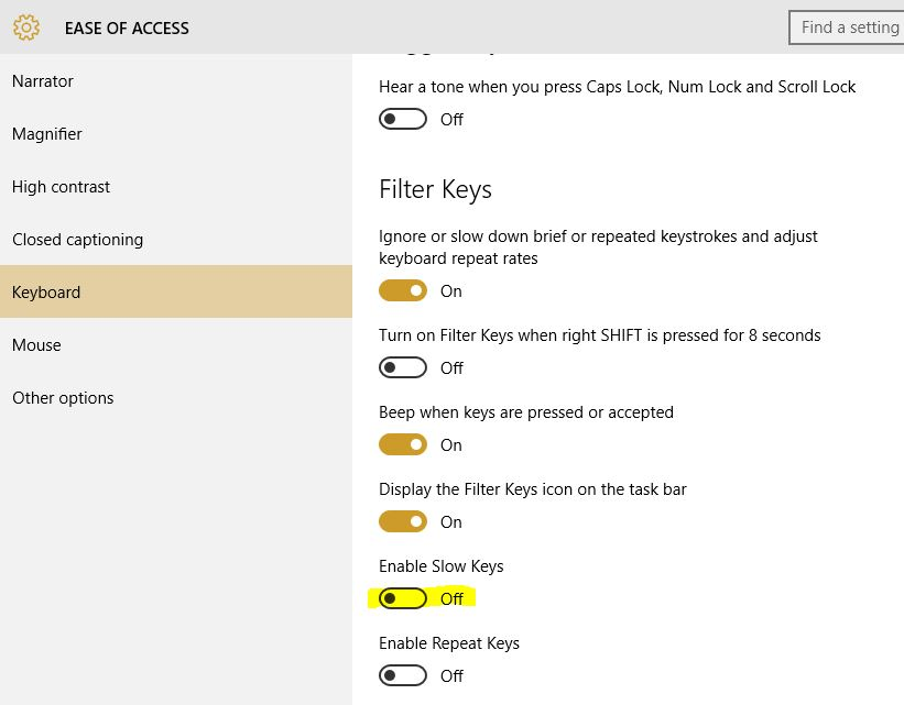 how to turn off slow keys